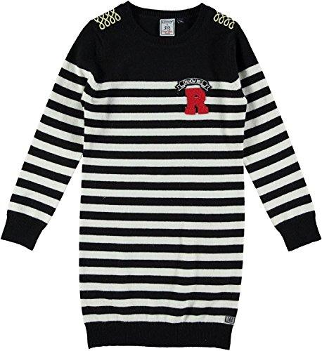 RETOUR - Mädchen Winterkleid Strickkleid gestreift, schwarz-natur - RJG-73-807, Größe 164