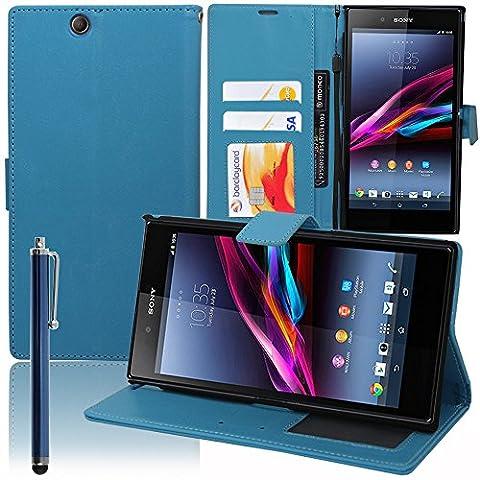 VCOMP® Housse Coque Etui portefeuille Support Video Livre rabat cuir PU pour Sony Xperia Z Ultra XL39H C6802 C6806 C6833 + stylet - BLEU
