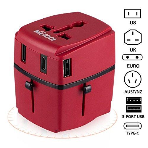 Adaptador de viaje, Milool Cargador 3 Puertos USB Y Tipo-C , Adaptador