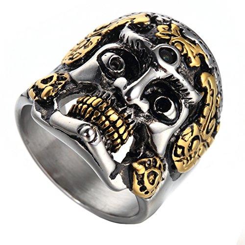 tahl Böse Teufel Geist Schädel Kopf Ring Vintage Gothic Vergoldet Silber Schwarz Größe 70 (Halloween Schädel Zu Ziehen)