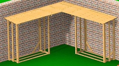 Preisvergleich Produktbild 4.4.3.3071: grosses Kaminholzregal für draussen - Eck-Kaminholz-Regal aus nordischer Fichte - für ca. 8-9 Raummeter Holz