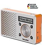 TechniSat Digitradio 1 tragbares DAB Radio mit Akku (DAB+, UKW, FM, Lautsprecher, Kopfhörer-Anschluss, Favoritenspeicher, OLED-Display klein, 1 Watt RMS) silber/orange -
