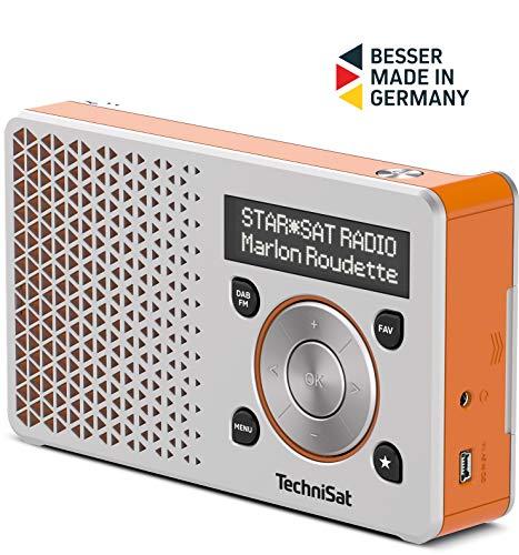TechniSat DIGITRADIO 1 Empfangsstarkes Radio (DAB+, UKW, FM, Lautsprecher, Kopfhörer-Anschluss, Favoritenspeicher, OLED-Display, Akku, klein, tragbar), silber/orange