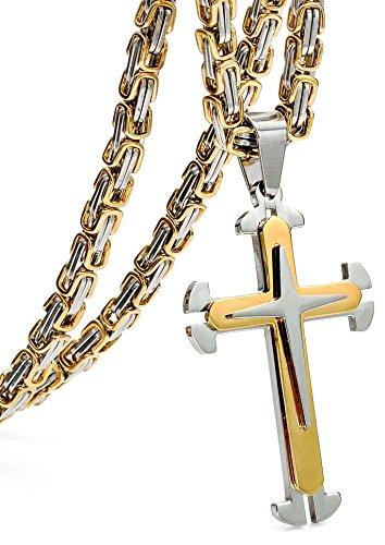 sailimue 5MM Acero Inoxidable Cruz Collar para Hombre Colgante Cadena Bizantina Collar Gotico Dorado, 76cm