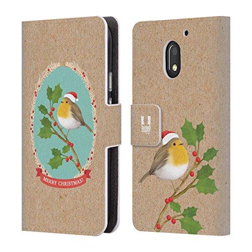 Head Case Designs Rotkelchen Weihnachtszeit Brieftasche Handyhülle aus Leder für Motorola Moto E3 Power