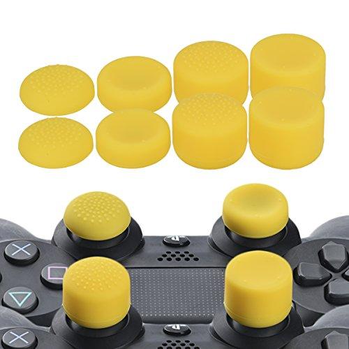 YoRHa Professionelle Aufsätze Daumengriffe Thumb Grips Thumbstick Joystick Cap Cover (Gelb) Extra Hoch 8 Stück Pack für PS4, Switch PRO, PS3, Xbox 360, Wii U Tablet, PS2 Controller (Ps2-gelbe Haut)