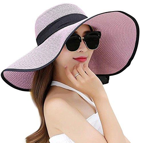 DRESHOW Damen Schlaff Strand Hut für Frauen Große Krempe Stroh Sonnenhüte Aufrollen Packbar UPF 50+ (Purple, Einheitsgröße) (Frauen-sommer-hüte)