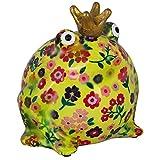 Pomme Pidou Spardose King Frog Freddy | Originale Keramische Frosch Spardose | gelb mit Blumen Gratis Geschenkbox | Liebevoll handgemacht