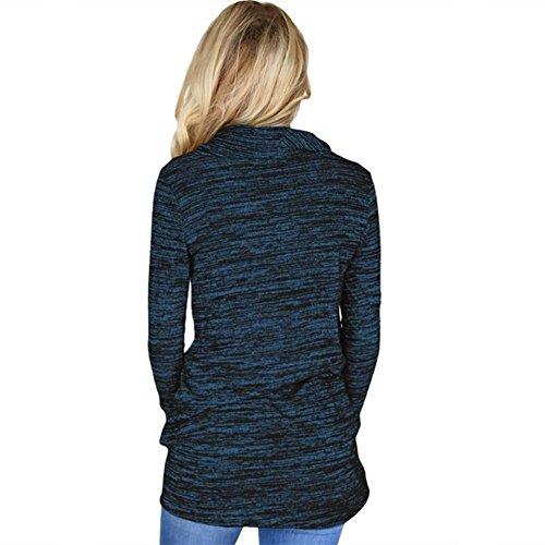 Newbestyle Femme Printemps Automne Sweats-Shirt Manche Longues Pulls Hoodies Bleu