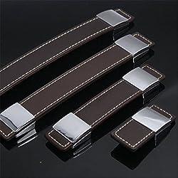 FBSHOP(TM) 2pcs Tiradores / perillas / manijas de cajones de cuero marrón y aleación de zinc / para Maletín Maleta de vino Armario de caja de madera Armario de muebles Hardware de muebles