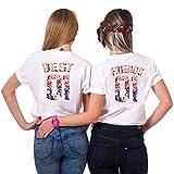 Best Friends T-Shirts für 2 Mädchen Sister Aufdruck – Sommer Oberteile Set für Zwei Damen Freunde Freundin BFF Geburtstagsgeschenk (Weiß + Weiß, L + Friends-M)