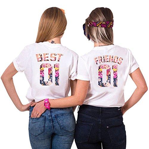 Best Friends T-Shirts für 2 Mädchen Sister Aufdruck - Sommer Oberteile Set für Zwei Damen - Beste Freunde Freundin BFF Geburtstagsgeschenk (Weiß + Weiß, Best-M + Friends-M)