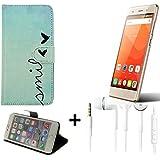 360° Funda Smartphone para Haier Leisure L56, 'smile' + auriculares | Wallet case flip cover caja bolsa Caso Monedero BookStyle - K-S-Trade (TM)