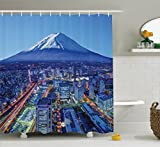 Ambesonne Wanderlust Decor Collection, Skyline Of Mt. Fuji and Yokohama Japan Financial District Mountain Volcano Picture Print, Polyester Fabric Bathroom Shower Curtain, 84 Inches Extra Long, Navy