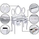 Songmics-Tocador-con-cajones-espejo-y-taburete-mesa-de-maquillaje-blanco-RDT91W