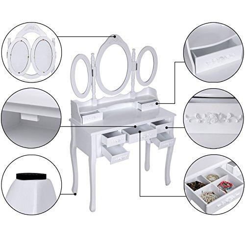 Songmics weiß luxuriös Kippsicherung Schminktisch mit 3 spiegel und hocker, 7 schubladen inkl. 2 Stück Unterteiler, Kippsicherung, 145 x 90 x 40 cm RDT91W - 4