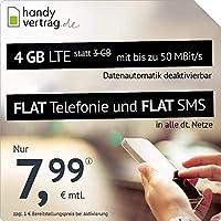 handyvertrag.de LTE All 3 GB + 1 GB - monatlich kündbar (Flat Internet 4 GB LTE mit max. 50 MBit/s mit deaktivierbarer Datenautomatik, Flat Telefonie, Flat SMS und EU-Ausland, 7,99 Euro/Monat)