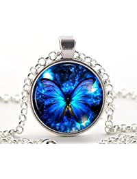 Amazon glass necklaces pendants novelty jewellery silver blue butterfly pendant necklace unique jewellery art gift for women and girls aloadofball Image collections
