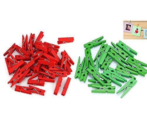 3.5cm Holz Mini Weihnachten Klammern Dekoklammer in Rot Green 100Pcs