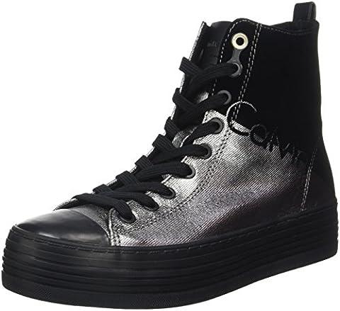 Calvin Klein Damen Zazah Metal Canvas/Flocking Sneaker, Mehrfarbig (Pewter/Black), 38 EU (Calvin Klein Sneakers)