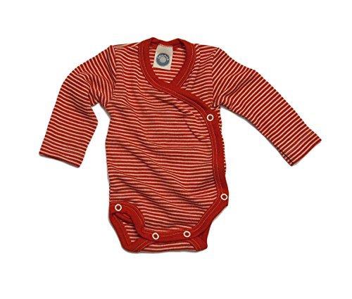 Cosilana Baby Wickelbody, Größe 50/56, Farbe Rot geringelt, 70% Wolle und 30% Seide kbT