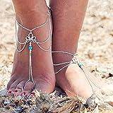 Jovono, cavigliera con nappa turchese, bracciale da caviglia per spiaggia, per piedi nudi o sandali, per donne e ragazze, confezione da 1 pezzo, codice AT04