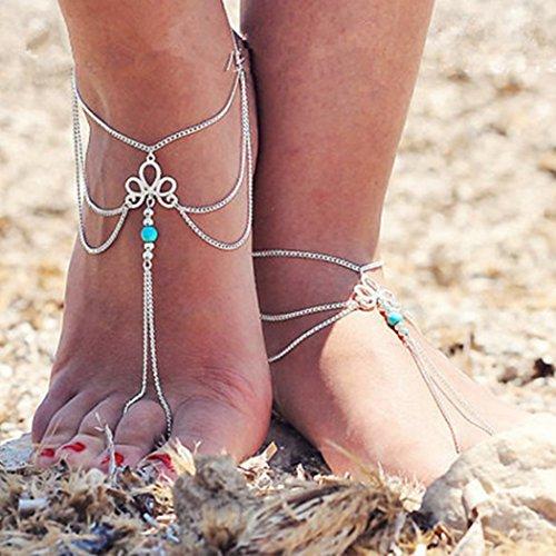 jovono Fußkettchen mit Türkis Quaste Knöchel Armband Strand Barfuß Sandalen für Frauen und Mädchen AT04(1Stück)