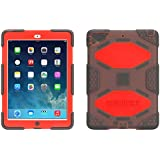 Griffin Smoke/Red Survivor All-Terrain Case + Stand for iPad Air - Military-Duty Case with Stand