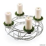 Adventskranz - Metall / Draht - Farbe: Silber - Durchmesser: 35cm - Moderne Weihnachtsdeko