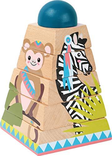 small foot 11090 Pyramide à empiler 'Jungle' en bois, avec 4 motifs animaux et 5 éléments...