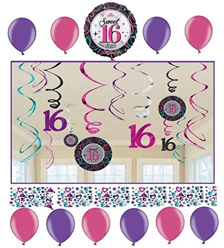 Libetui Geburtstag Dekoration Deko-Set 'Sweet 16' Pink Lila Girlande Konfetti Luftballons 16. Geburtstag