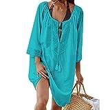 Bonboho Femme Cover-Up Lâche Sarong Tunique Mini Robe de Plage Grande Taille Chemisiers Blouses Floral Dentelle pour Maillot de Bain Vacances Beachwear