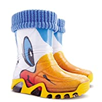 Girls Kids Fleece-Lined Wellington Boots Wellies Yellow Duck Ducklings New