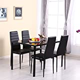 WarmieHomy Dining Table Chairs, Glass Dining Table Set and 4 Faux Leather Chairs Black (Dining Table with 4 Chairs)