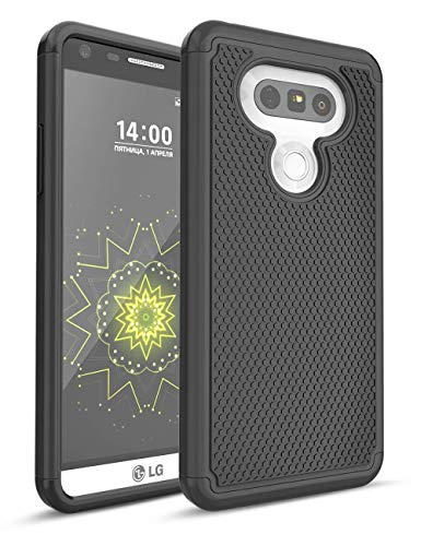 LG G5 Fall, bis, zweilagige Hybrid Defender Rugged Slim Case Massivholz Weich Innen Silikon Bumper Hart PC Back Cover Shell für LG G5 Phone AT & T T-Mobile Sprint Verizon entsperrt, schwarz/schwarz