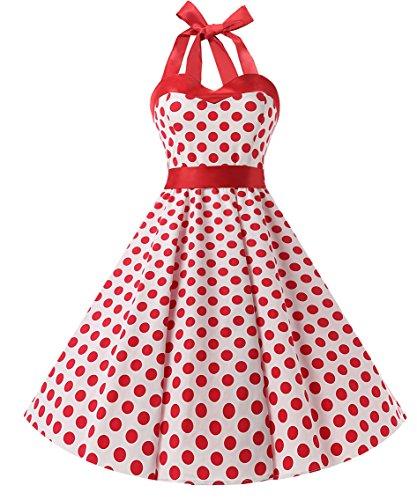 Dresstells Neckholder Rockabilly 50er Polka Dots Punkte Kleid Petticoat Faltenrock White Red Dot S