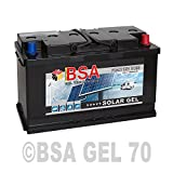 BSA Solar GEL Batterie 70Ah 12V Gelakku Solarbatterie Versorgungsbatterie - 6 Grössen (70Ah)