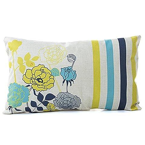 Fineshow rectangle Dessin imprimé Home décoratifs Housse de coussin Lit canapé Throw Taie d'oreiller, fleur, 30cm*50cm/11.81*19.68