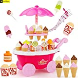 Zest 4 Toyz Ice Cream Kitchen Play Cart Kitchen Set Toy with Lights and Music. (Pink 1)