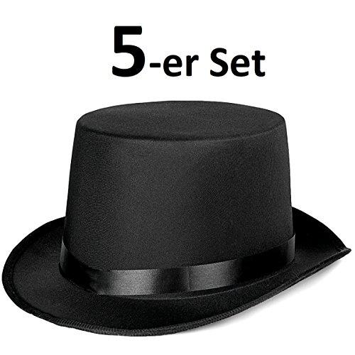 Zylinder Herren Damen - Klassischer Magierhut in Schwarz - Idealer Zauberer Magier Dandy Gigolo Stripper Hut für Party, Halloween, Fasching und Karneval (5x Zauberer Hut) ()