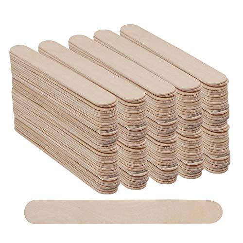 BELLE VOUS Eisstiele aus Holz (300 STK) - Jumbo Holz Eisstiele 150 mm x 19mm - Große Eisstiele zum Basteln - Perfekt für Garten, Wand, Holzlampen & Bastelprojekte Lollipop Sticks EIS am Stiel -
