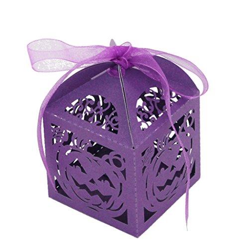 50 x Halloween Süßigkeit Schokolade Box Mit Band Geschenkbox Verpackungs Kürbis - Lila