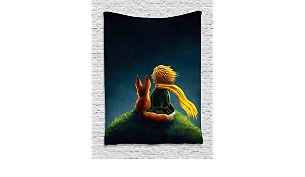 Childrens Decor Little Prince and The Fox Looking at The Sky Pattern 60WX80L inches Dark Blue Fern Green tap/_27987/_60x80 Wall Hanging for Bedroom Living Room Dorm Ambesonne Kids Decor Tapestry