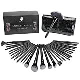 Make Up Pinsel Set Start Makers 32+1 pcs Professionelles Schminkpinsel Kosmetikpinsel Lidschatten Gesichtspinsel Eyeliner mit Etui Kosmetik Lidschatten Gesichtspinsel Miracle Make Up Schwamm Luxuriös Stilvoll Geschenkschachtel(schwarz)