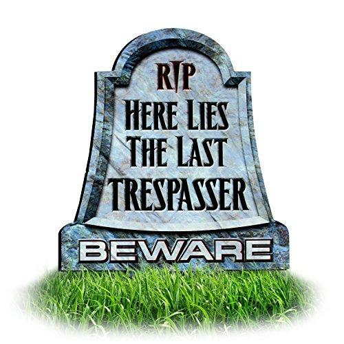 spassing Schilder: Rip Hier Liegt die Letzten Trespasser, Vorsicht vor Grabstein Rasen Schild | Funny Halloween-Schild | Dibond Yard Dem Spiel ()