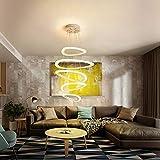 LED Pendelleuchte Wohnzimmer Hängeleuchte Höhenverstellbar Modern Design 5 Ringe Pendellampe Kronleuchter Wohnung Treppenhaus Leuchte Büro Bar Halle Lampe Hängelampe 65W Ø 34+52+43+34+25CM, Dimmbar