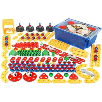 Klein - 8707 - Jeu de construction - Grand bac Technico avec couvercle, 210 pièces et 8 cartes