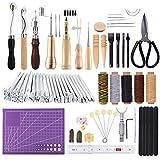KA MAI KA Leder Werkzeuge Set, Leder Handwerk Werkzeuge mit Mattierungsschnitt, Stitching Groover, Prong Punch, Lederarbeitssattel, der Stempel Werkzeuge für DIY Lederhandwerk herstellt