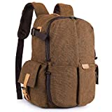 "S-ZONE Camera Backpack Fits 15.6"" Laptop Canvas Professional Travel Case Bag Tripod DSLR"