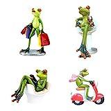 Homyl 4 Stk. Kreative Frosch Dekofiguren Deko Figur Statue Skulptur für Büro Haus Dekoration